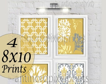 Mustard Yellow Grey Floral Vintage / Modern inspired  Art Prints Collection  -Set of (4) - 8x10 Prints -   (UNFRAMED)