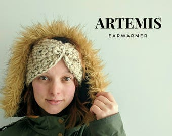 Artemis Ear Warmer | Crocheted Headband with Pinched / Bow Front