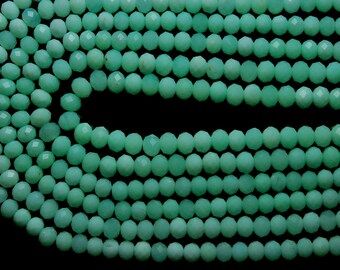 13'' Full Strand, Super Finest, Hard to Find Quality,  AAA Natural Chrysoprase Faceted Rondelles, LARGE Size 5.30mm
