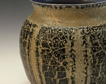 Brown Vase - Rustic Vase -Blue Striped Vase - Textured Vase - Salt Fired - Handmade Pottery