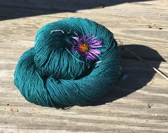 100% Mulberry Silk Lace & Sport Yarn Hand dyed Forest Green (Cone or Hank)