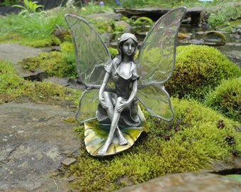 Fairy Statue, Stained Glass, Sculpture, Angel, 3D, Home Decor, Museum Quality, Fae, Pixie, Iridescent Glass, Faerie, Magical, Whimsical