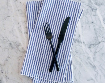Cloth Napkins, Stripe Linen Napkin, Blue Stripe Dinner Napkin, Wedding Napkins, Everyday Cloth Napkins, Blue and White Cloth Napkins