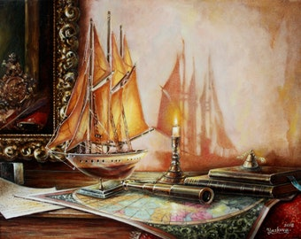 Oil painting Ship Original Still life Oil on canvas Paint Still life painting Realistic Colorful painting Candle Art Gift Wall Decor Realism