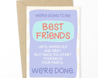 Funny Friendship Card - Old and Gray Best Friends