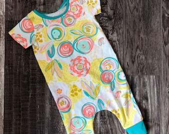 Harem Reverie Romper Modern Baby Girl Clothes Yellow Mustard Teal Floral Art Gallery
