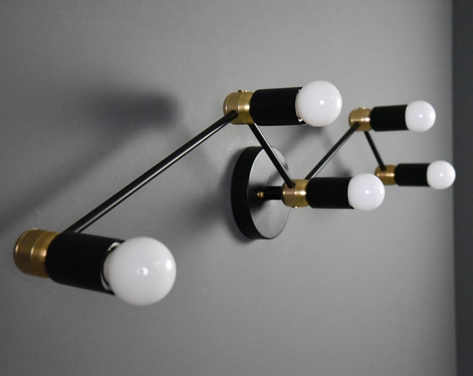 Black and Brass Mix Wall Sconce Vanity Constellation 5 Bulb Wall Sconce Modern Mid Century Industrial Light Bathroom Vanity UL Listed