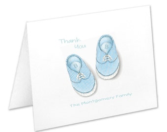 Personalized Baby Boy Note Cards, Personalized Stationery Set, Baby Shower Thank You Cards, Baby Boy Stationery, Blue Baby Shoes, Baby Notes