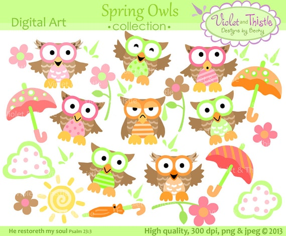 owl clip art spring owl digital clip art owls clipart cute owl rh etsy com digital clipart images digital clipart for sale