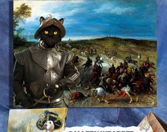 Black Cat Fine Art Canvas Print - The Last Battle