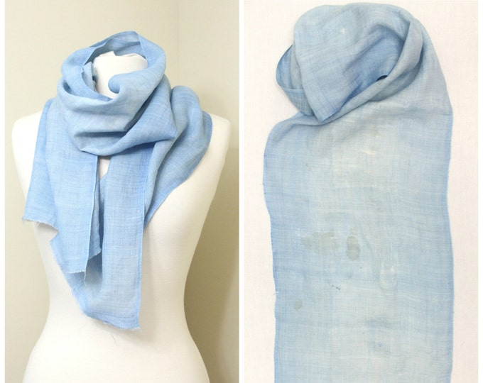 Vintage Japanese Linen Fabric with Botanical Indigo Dye and Boro Patches. Light Blue Fabric Scarf  (Ref: 1473A)