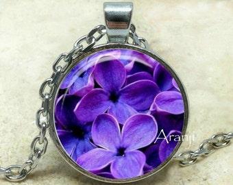 Lilac pendant, lilac necklace, lilac jewelry, lilac, lilac flower necklace, purple flower pendant, lilac, Pendant #PL142P