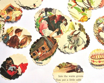 Vintage Childrens' Book Punches - Tags - Junk Journal - Handmade Tag - Scrapbooking Embellishments - TN - Planner - Journal - Bible