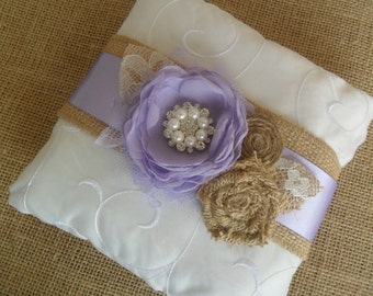 Lavender Ring Bearer Pillow, Rustic Wedding Pillow, Wedding Accessory, YOUR CHOICE COLOR, Wedding Pillow, Bridal Pillow, Ring Bearer Pillow