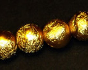 20pc - 8mm Textured Metallic Gold Round Sphere STARDUST Style Spacer Beads
