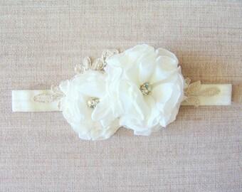 Flower girl headband Bridal headband Wedding Ivory Accessories