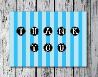 Printable blue striped folded thank you card
