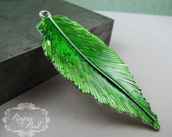 Silvertone & Bright Green Enamel Leaf Pendant,  1 pc, Spring, green pendant, foliage, jewelry making, beading, focals - reynaredsupplies
