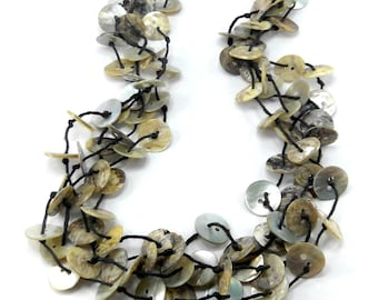 Paua Necklace - Multistrand Statement Necklace - Black Mother of Pearl Necklace - Black and White Shell Necklace