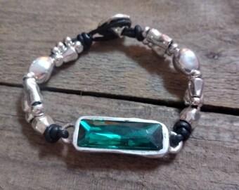 green crystal 30mm, silver plated bracelet, new desing, crystal swsrovski bracelet, minimal desing, mother gift