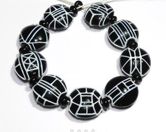 TRAILS - Handmade Lampwork Glass Beads - Black and White Set