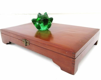 Vintage Wooden Box   Silverware Box   Flatware Chest   Silverware Chest   Wood Storage Box   Display Box   Dovetail Box
