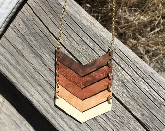 Five Year Anniversary Gift For Her Chevron Necklace Statement Necklace Salvaged Wood Jewelry FIVE CHEVRON NECKLACE