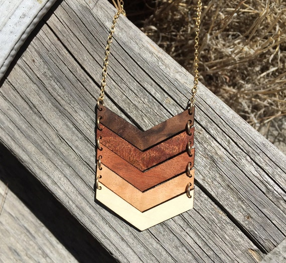 5 Year Wedding Anniversary Gift Ideas For Her: Five Year Anniversary Gift For Her Chevron Necklace Statement