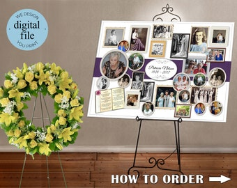 Memorial Collage for Funeral Service, Memorial for Funeral, Memory Board, Photo Enlargement for Funeral memorial, Memorial Photo Collage