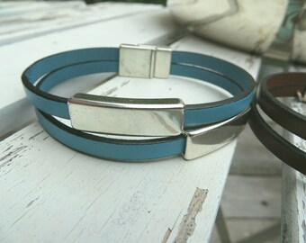silver bar leather cuff bracelet