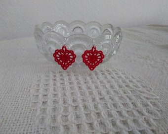 Embroidered Heart Earrings, Embroidered Freestanding Lace, Pierced Earrings, You Pick Your Color