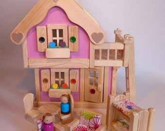 Wooden Toy Peg Doll House, Wood Toy Dollhouse Furniture, Kids Birthday Gift, Waldorf inspired, Jacobs Wooden Toys 'PINK BLOSSOM'