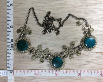 """Vintage 17"""" Brass Toned Necklace Teal Beads Used"""