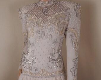 vintage beaded gown, oleg cassini, silk gown, designer gown, beige