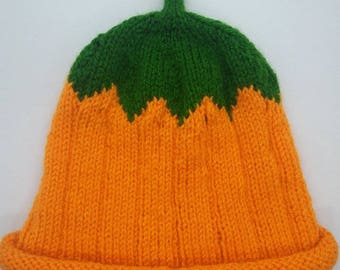 Pumpkin knit baby hat phot prop beanie hat new baby gift ready to ship