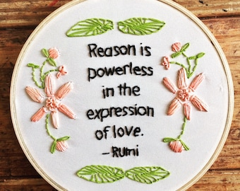 The expression of love  - hand embroidery hoop art