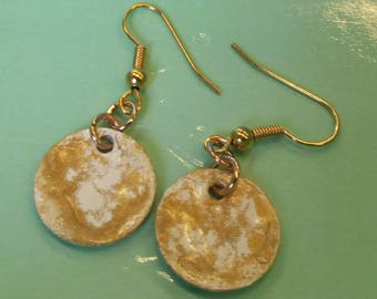 White and Gold Enamelled Earrings