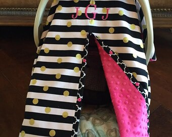Items similar to Super Cute Baby Car Seat Covers - Black Stripe ...
