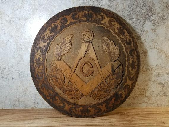 Old Flemish Art Co Pyro Art Mason IOOF Sign