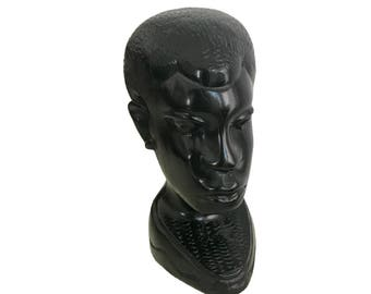 African Carved Ebony Wood Portrait Bust of Man