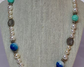 Amazonite, Blue Dyed Agate, and Glass Pearl Necklace