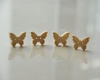 12pcs+ Zakka Butterfly Wooden Buttons