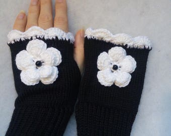 Free Shipping - Black with White Flower Fingerless gloves,