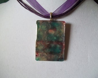 Choice of altered art alcohol ink dyed handcrafted Rummikub Joker or Game Piece Pendant Necklace