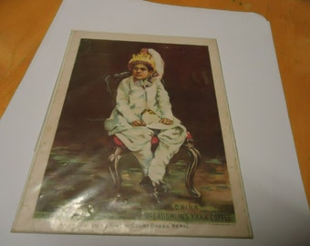 Vintage 1893 Mc Laughlin's XXXX Coffee Advertisement in plastic named Reigning King in Court Dress, collectble,