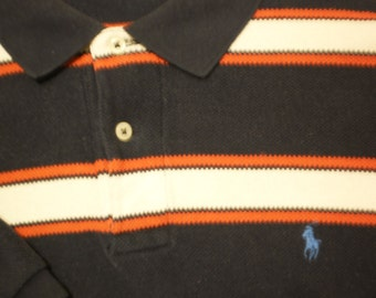 Ralph Lauren POLO Shirt Vintage Mens XL Red Navy Blue Retro Preppy Stripes Woven Knit Extra Large RL Polo