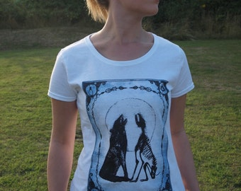 LIMITED EDITION The Moon Tarot Card unique macabre Women's T-Shirt  Screen Printed Hare Raising Designs