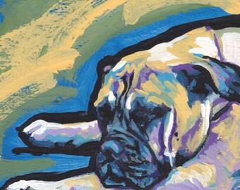 "Bullmastiff Dog portrait giclee print of pop art painting  bright colors 8x8"""