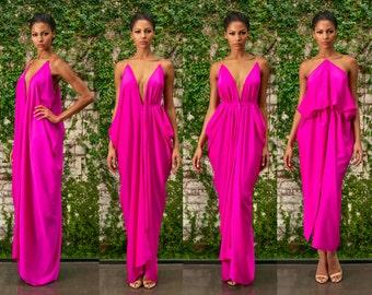 Fuscia Silk Draped Dress - Roxy
