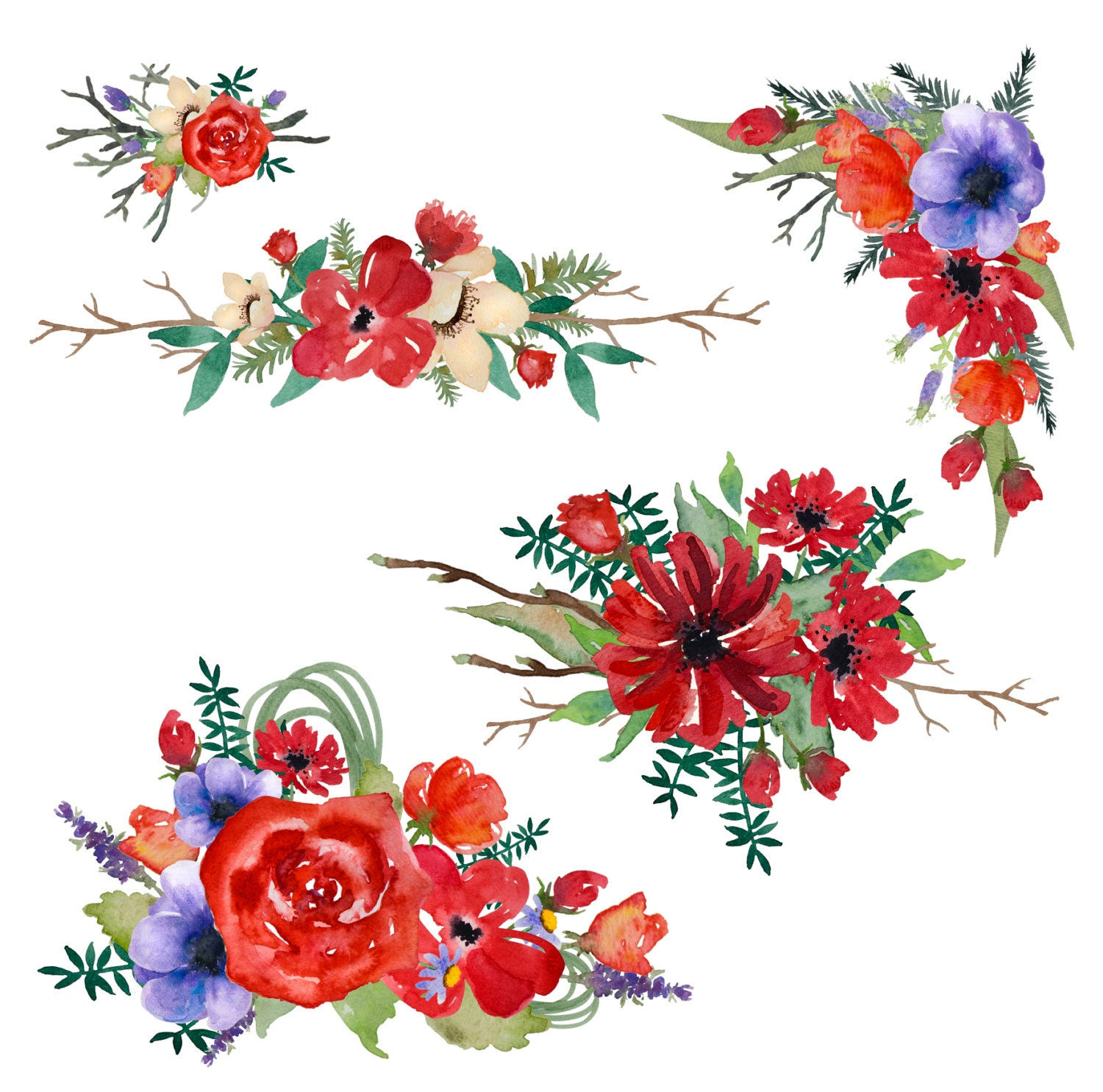 Watercolor flowers - red - hand painted - clip art - scrapbooking ...